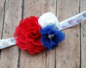 4th of july headband - patriotic  headband - fourth  july headband - baby headband - newborn headband - baby girl gift - red white and blue