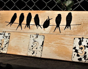 """KEYS HOLDER """"Birds on Wire"""" - Recycled wood pallet - Artisanal production"""