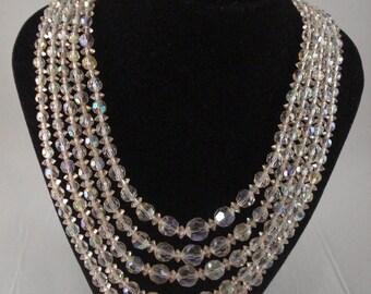 Aurora Borealis 5 Strand Beaded Choker Necklace
