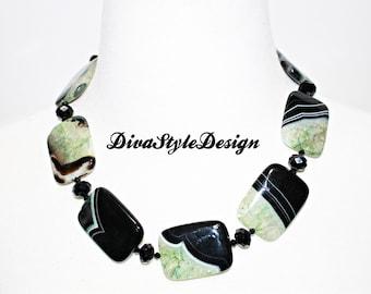 Green & Black Agate Duzy Statement Necklace