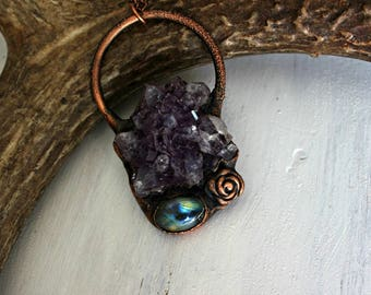 Amethyst Necklace/Amethyst stalactite necklace/Copper Necklace/One of a kind Necklace/Electroformed Necklace/Unique Necklace