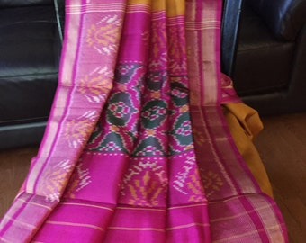 Handwoven single Ikat silk Patola Saree