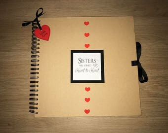 Handmade Personalised 'Sisters' Scrapbook / Photo Album / Gift. Large Kraft with red hearts