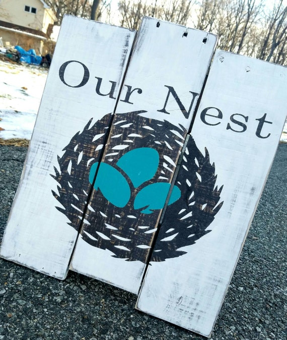Custom Reclaimed Wood Pallet Sign - Our Nest. Farmhouse/Rustic/Distressed Style. Perfect Gift! READY TO SHIP! Turquoise accent colors.