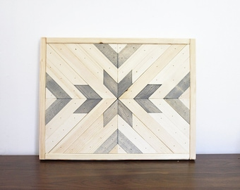 Geometric Wood Wall Art Grey Natural