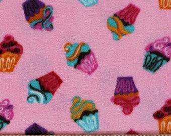 Cupcakes Print Fleece Fabric by the yard -Pink