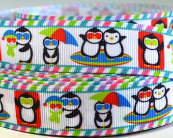"7/8"" Summer Beach Penguin - Print Grosgrain Ribbon"