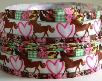 "1"" Horses, Hearts, Grosgrain Ribbon"