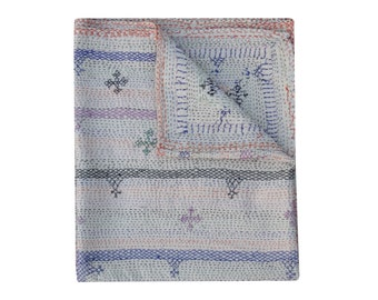 Queen Size Solid Cotton  Kantha Quilt Hand Embroidered Kantha Blanket