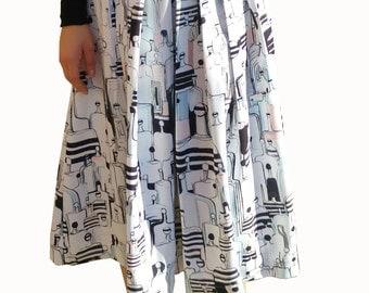 People print midi skirt