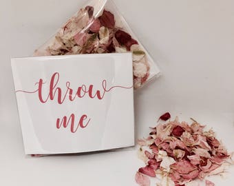 Flower petal confetti - dark and pale pink with off white petals - biodegradable - calligraphy 'throw me' packet - vintage weddings
