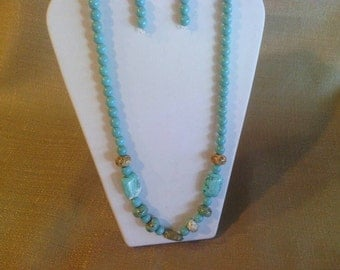 316 Bohemian Style Multi Colored and Multi shaped Beaded Magnesite Turquoise Beaded Necklace