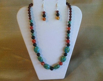 149 Stunning Mosaic Magnesite Turquoise and Carnelian Red Agate Beads and Black and Red Agate Beaded Necklace