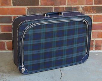 Blue Tartan Plaid Suitcase - 1960s Vintage - 60s Retro Mod - cloth travel case - blue green plaid - in VG+ condition