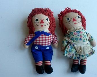 Vintage small Rageddy Ann and Andy  dolls by Knickerbocker, vintage Raggedy Ann doll, redhead vintage dolls, children's room decor