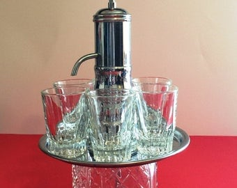 Vintage  Chrome Pump Decanter Shot Dispenser With 6  Glasses, Bourbon Dispenser Decanter