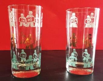 "Set of 2 Vintage ""Hi"" highball drinking glasses - B2"