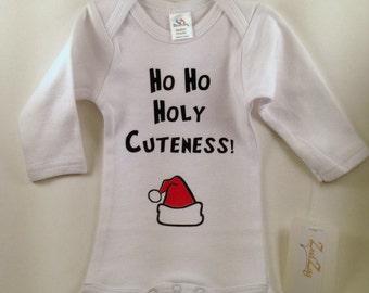 Christmas Baby Clothes-Christmas Baby-Holiday Baby Clothes-Funny Baby Clothes-Cute Baby Clothes-Santa Baby Clothes-Ho Ho Holy Cuteness