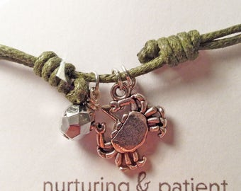Zodiac Star Sign Cancer Green Cord Bracelet - Adjustable with crab charm and silver bead