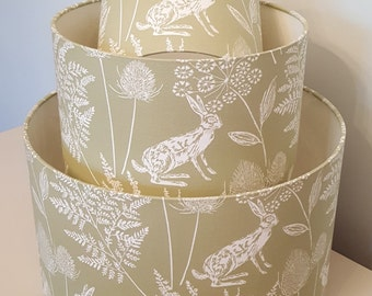 Green Hare Drum Lampshade - handmade lamp shades in 3 sizes!