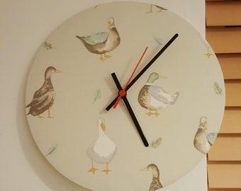 Jenny Duck Fabric Clock - 30cm diameter - handmade!