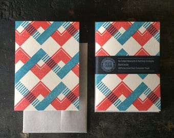 Six Chevron Letterpress Notecards - Red & Blue