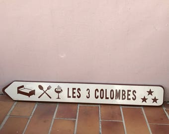 Vintage Authentic French Road Sign restaurant les 3 colombes enameled 30031726