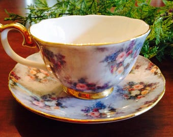 """Bradford Editions """"Glory"""" in Lena Liu's Glorious Chintz Teacup and Saucer."""