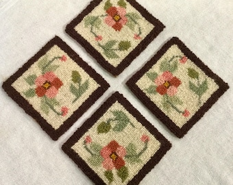 Hooked Rug Coasters from Cheticamp, Cape Breton, Ca: 1970s.