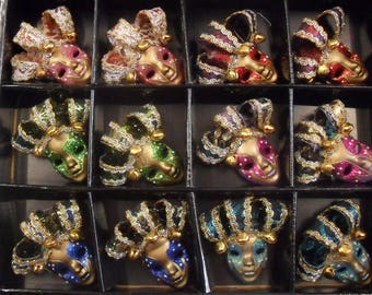 Set of 12 Mini masks decorative Style Venetian Magnet bells