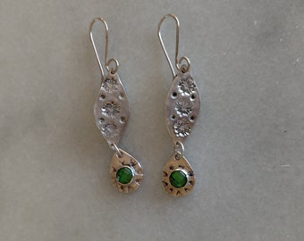 Silver dangling earrings with emerald color 6 mm cubic zirconia. 99.9 pure silver with sterling ear wires
