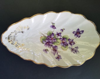 Vintage Winterling Violets Teardrop Dish ~ Made in Germany ~ Gold Gilt ~ Scalloped Edge