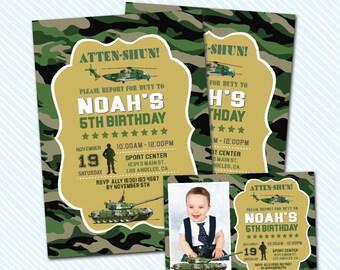 Digital Printable Army Birthday Invitation. Boy Birthday. military invite