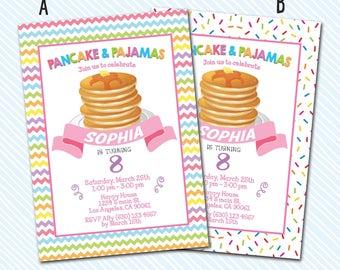 Digital Printable Pancakes and Pajamas Birthday Invitation. Pancake Birthday