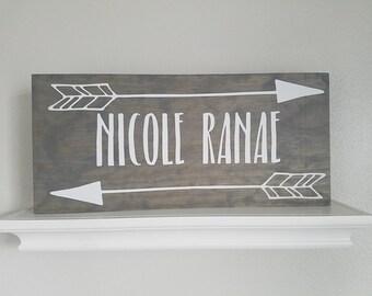 Nursery Name Sign l Custom Arrow Name Sign l Arrow sign l tribal decor l boho decor l Rustic sign l Rustic decor l Farmhouse sign