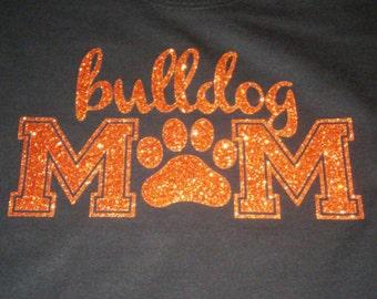 Bulldog Mom Orange Glitter Shirt