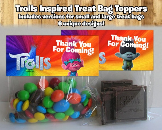 Trolls Birthday Treat Bag Toppers