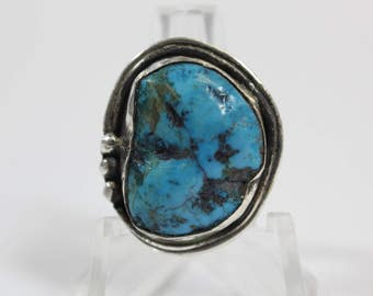 Vintage Navajo Turquoise Sterling Silver Ring #E52