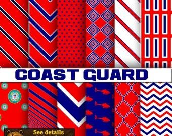 Coast Guard digital paper, background, scrapbook