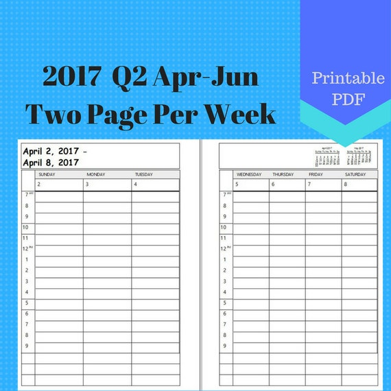 2017 April to June, 2 Page Per Week, Q2 Weekly Calendar Insert Pages, Planner, Discbound, Jr, Half