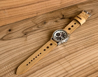 Sale ,Leather Watch Strap 23mm,  Vintage Style // Mustard Color Full Grain Soft Leather // Made to Order