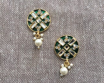Indian Green Jaipur Mirror Button, Diamante Pearls Decorative Bead Rajasthani Traditional Handmade Button,Jewellery Charm 2.5cm Price for 2