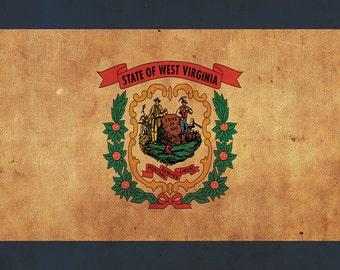 Vintage West Virginia Flag on Canvas,West Virginia, Wall Art,West Virginia Photo, Virginia Print, West Virginia , Single or Multiple Panels
