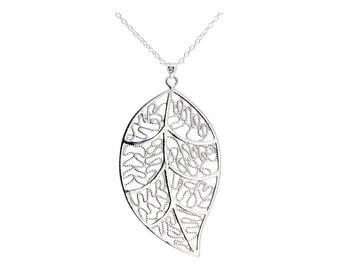 Real silver necklace leaf, 925 sterling silver leaf pendant, genuine silver flower plant 925, skeleton leaf intricate nature, black gift box
