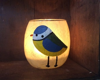 The blue tit with no name. Small hand made tealight holder
