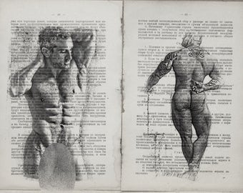 Erotic Gay poster  / Muscle mens body/ nude   mens  / 2 pages Printing Antique  book  decor interior picture ART erotic souvenir