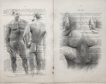 Gay erotic poster  / muscular mens nude body  / 2 pages printing Antique Russian book  decor interior picture ART erotic