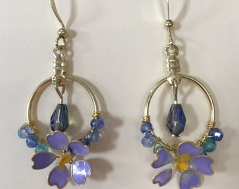 Fotget-me-not Earrings, Gold Dangle Earrings, Gold Chandelier Earrings, clip-on option available