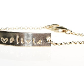 Baby Bracelet Personalized, Gold Baby Bracelet, Gold Bar Baby Bracelet, Personalized Gift