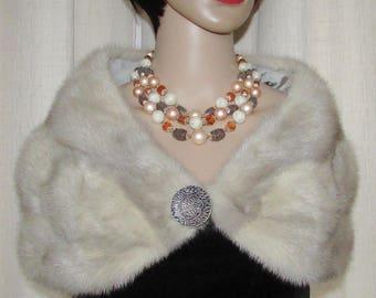 Vintage superbe  xsmall silver grey mink fur stole / très jolie étole de  fourrure vison gris argenté vintage extra petite